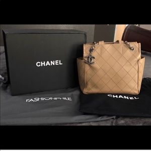 Authentic CHANEL Beige Tote with Bag Charm